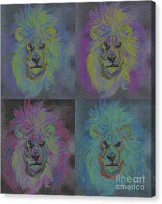 Lion X 4 Color  By Jrr Canvas Print by First Star Art