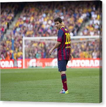 Canvas Print featuring the photograph Lionel Messi by Nathan Rupert