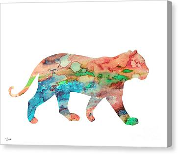 Lioness Canvas Print by Watercolor Girl