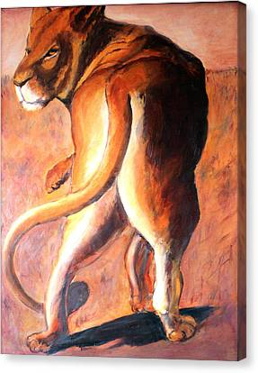 Canvas Print featuring the painting Lioness by Rosemarie Hakim