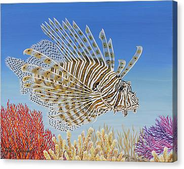 Canvas Print featuring the painting Lionfish And Coral by Jane Girardot