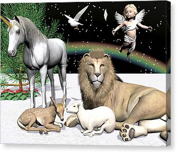 Lions And Lamb Canvas Print