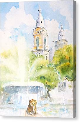 Lions Fountain Plaza Las Delicias  Ponce Cathedral Puerto Rico Canvas Print by Carlin Blahnik