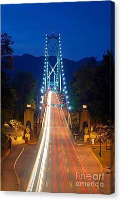 Vancouver At Night Canvas Print - Lions Gate Bridge At Dusk by Terry Elniski