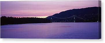 Lions Gate Bridge At Dusk, Vancouver Canvas Print by Panoramic Images