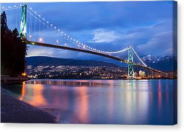 Lions Gate Bridge Just After Sunset Canvas Print by James Wheeler