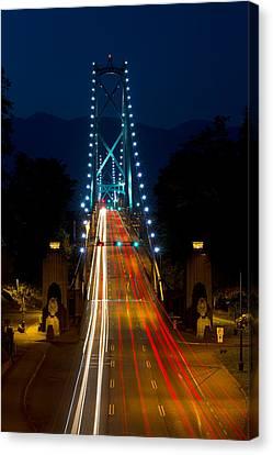 Lions Gate Bridge Traffic Canvas Print by Michael Russell