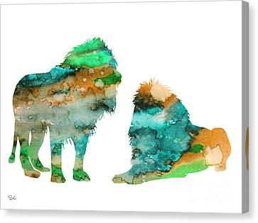 Lions Canvas Print by Watercolor Girl