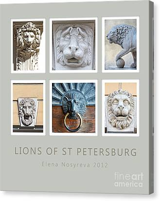Lions Of St Petersburg Canvas Print by Elena Nosyreva