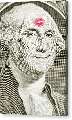 Lipstick Kiss On One Dollar Bill Canvas Print