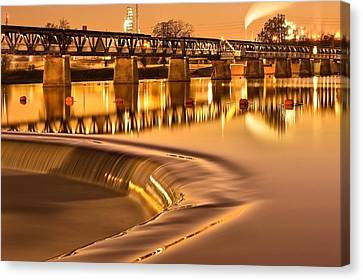 Liquid Gold - The 21st Street Bridge  Canvas Print by Gregory Ballos