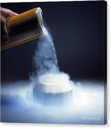 Liquid Nitrogen Being Poured Canvas Print by Charles D Winters