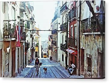 Lisboa Tram Route Canvas Print by Sarah Loft