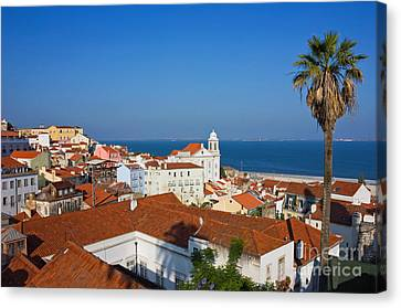 Lisbon Alfama Panoramic View Toward The River Canvas Print by Kiril Stanchev