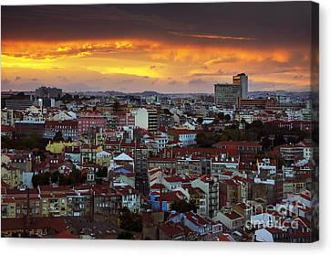 Lisbon At Sunset Canvas Print by Carlos Caetano