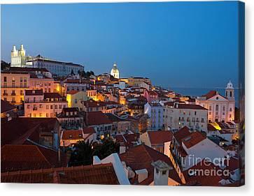 Lisbon City Lights Panoramic Alfama View Canvas Print by Kiril Stanchev