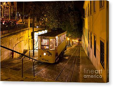 Lisbon Gloria Funicular Night Shot Canvas Print by Kiril Stanchev