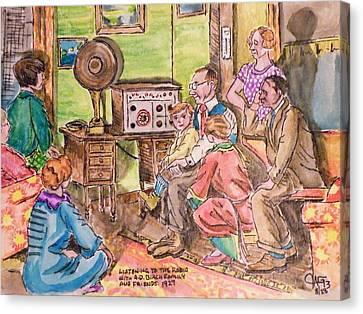 Listening To The Radio Canvas Print