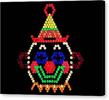 Lite Brite - The Classic Clown Canvas Print by Benjamin Yeager