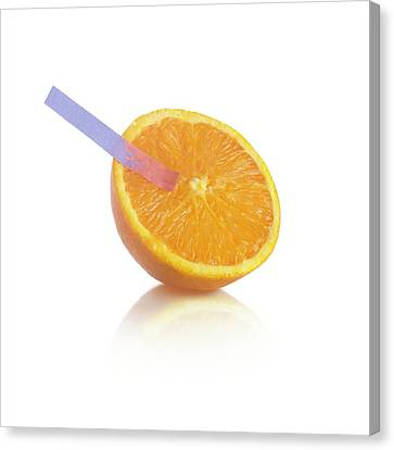 Litmus Paper Test On An Orange Canvas Print by Science Photo Library