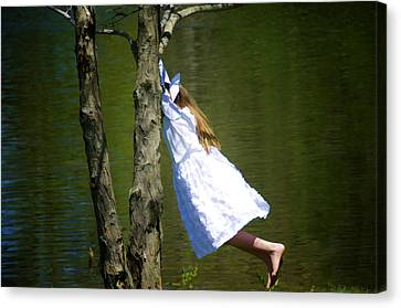 Tomboy Canvas Print - Litte Girl Swinging In White Dress by Donna Doherty