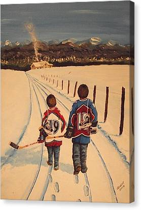 Youth Hockey Canvas Print - Little Av's by Ron  Genest