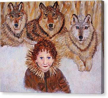 Little Bernard And The Wolves Canvas Print by The Art With A Heart By Charlotte Phillips