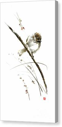 Little Bird On Branch Watercolor Original Ink Painting Artwork Canvas Print by Mariusz Szmerdt