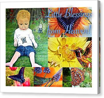 Climbing Canvas Print - Little Blessings From Heaven Collage by Kimberlee Baxter