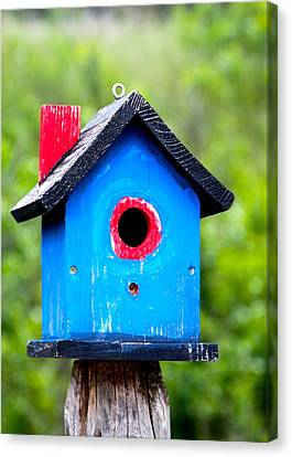 Little Blue Birdhouse Canvas Print by Karon Melillo DeVega