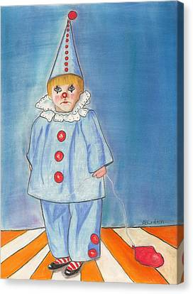 Little Blue Clown Canvas Print by Arlene Crafton