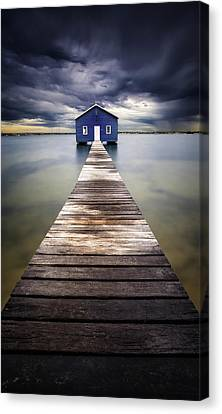 Shed Canvas Print - Little Blue by Leah Kennedy