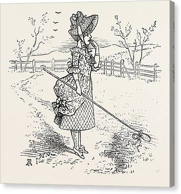 Little Bo-peep Has Lost Her Sheep, And Cannot Tell Where Canvas Print by English School