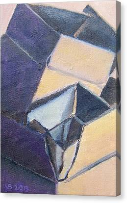 Little Boxes-yellow And Violet Canvas Print
