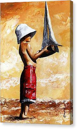 Little Boy In The Beach Canvas Print by Emerico Imre Toth