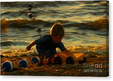Little Boy On The Beach Canvas Print by Jeff Breiman