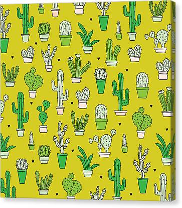 Little Cactus Botanical Garden Canvas Print by Maaike Boot