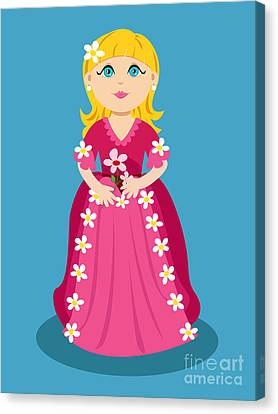 Little Cartoon Princess With Flowers Canvas Print by Sylvie Bouchard
