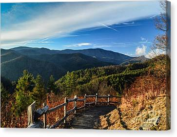 Canvas Print featuring the photograph Little Cataloochee Overlook In Summer by Debbie Green