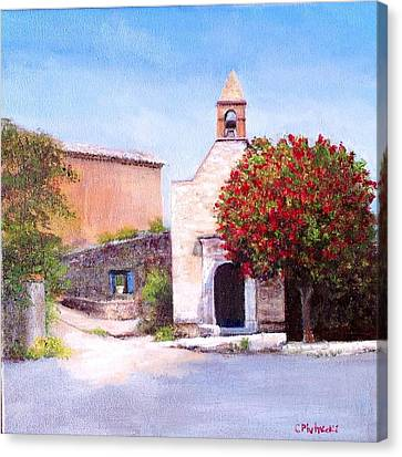 Canvas Print featuring the painting Little Chapel France by Cindy Plutnicki