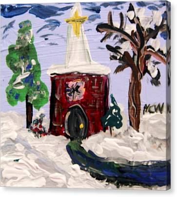 Canvas Print featuring the painting Little Chapel In The Snow by Mary Carol Williams
