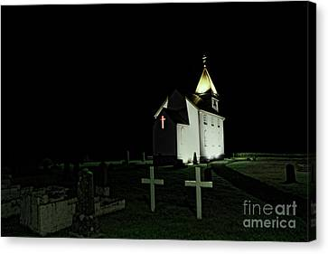 Little Church At Night Canvas Print