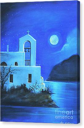 Canvas Print featuring the painting Little Church By The Sea by S G