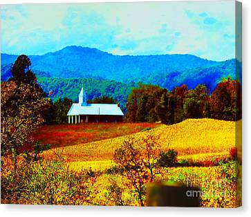 Little Church In The Mountains Of Wv Canvas Print by Gena Weiser