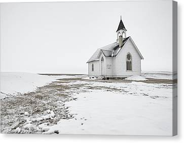 Little Church In The Prairies Canvas Print