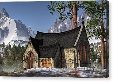 Little Church In The Snow Canvas Print