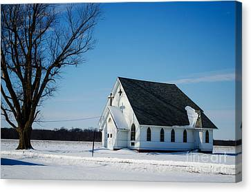 Little Church On The Prairie Canvas Print by Luther Fine Art