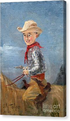 Little Cowboy - 1957 Canvas Print by Art By Tolpo Collection