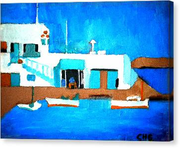 Canvas Print featuring the painting Paros  Cute Spot On Greek Island by Colette V Hera  Guggenheim