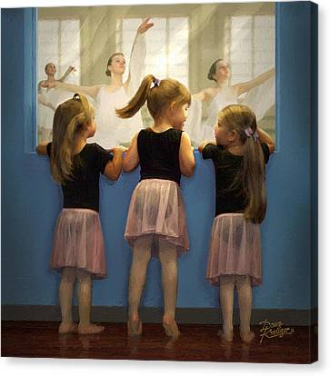 Rehearsing Canvas Print - Little Dancing Dreamers by Doug Kreuger
